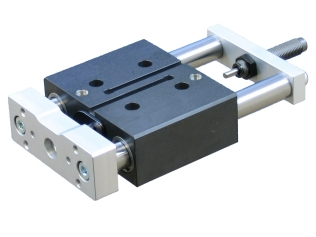 Compact guided cylinder with stroke adjustment