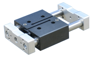 Compact guided cylinder with back plate